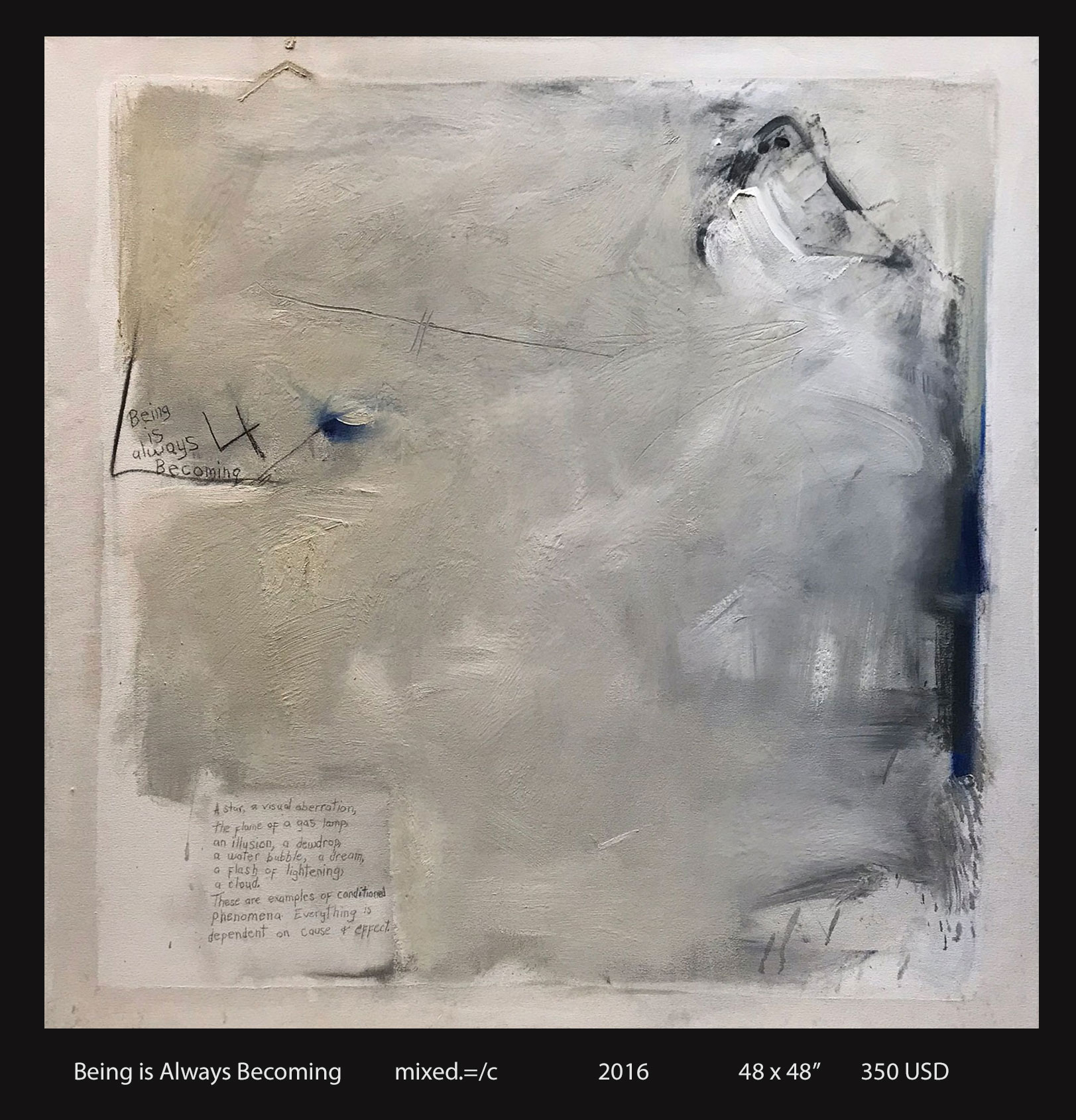 Being is Always Becoming, mixed media on canvas, 2016, 48″ x 48″, $3,500.00