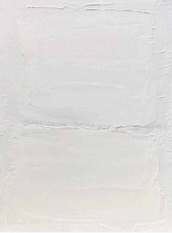 """""""Om"""", mixed media on canvas, 2019, 20″ x 16″, 350 USD"""